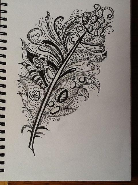 Zentangle Feathers Doodles More Doodle Art Zentangle Art
