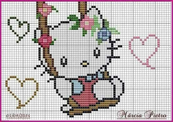Pin by cielo zambrano on Flores Pinterest Hello kitty, Kitty - cross stitch graph paper