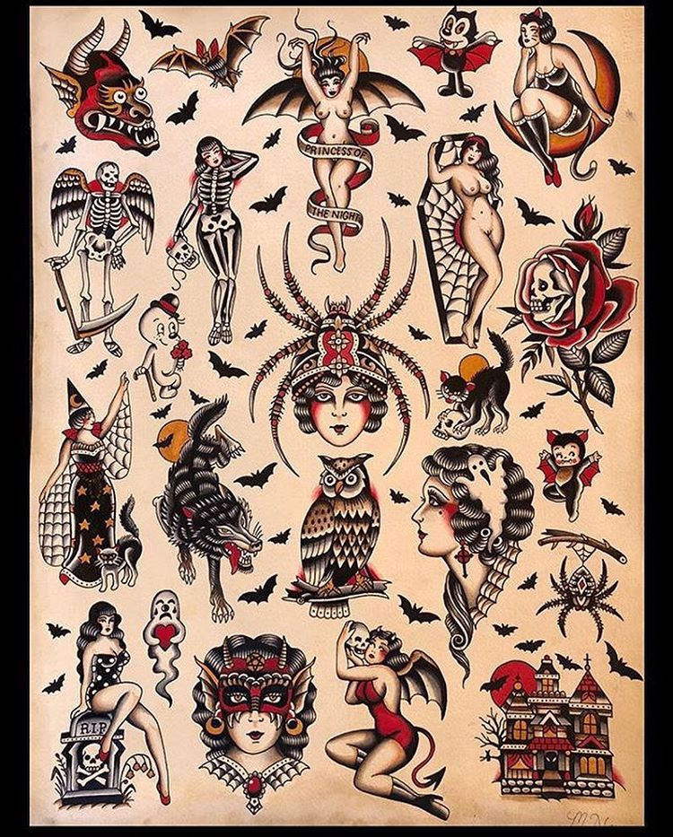 Princess Of The Night Traditional Tattoo Design Traditional Tattoo Art Traditional Tattoo