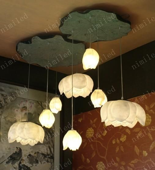 Wholesale   Nimi160 Creative DIY Art Resin Lotus Lamps Ceiling Light For  Restaurant Penthouse Living Room Hallway Stairs Hanging Lighting Part 56