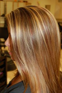 Dark Brown With Golden Blonde Light Blonde And Deep Red Highlights