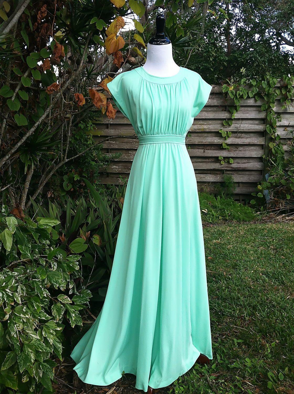 Vintage dress/1970s maxi dress/mint gown/1970s gown/mint colored ...