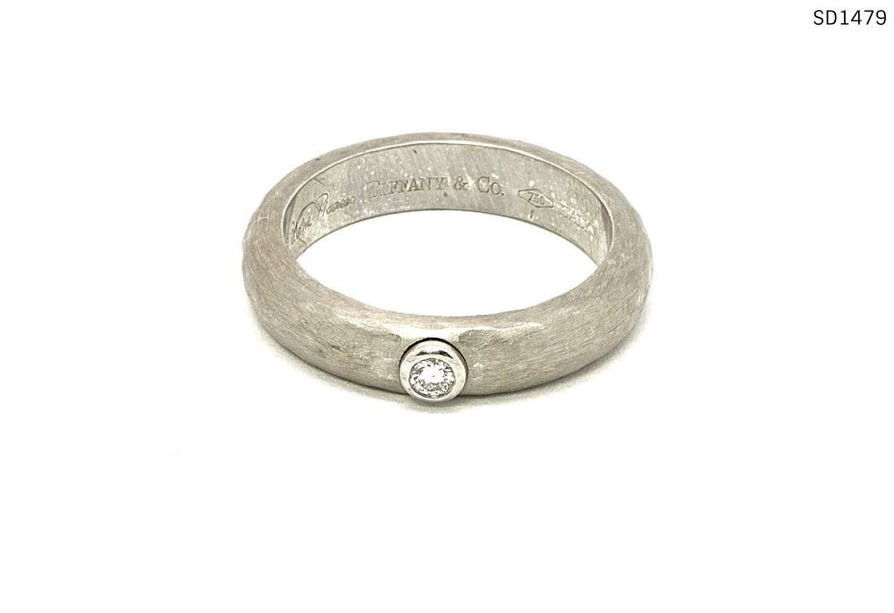 5a0c7c2d5 Tiffany & Co. Paloma Picasso 18k White Gold Hammered Diamond Ring Size 6 # TiffanyCo #Band
