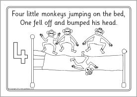 Five Little Monkeys Jumping on the Bed colouring sheets
