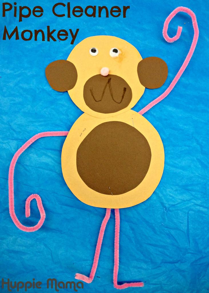 Pipe Cleaner Monkey Preschool Craft Wild Animals Camp