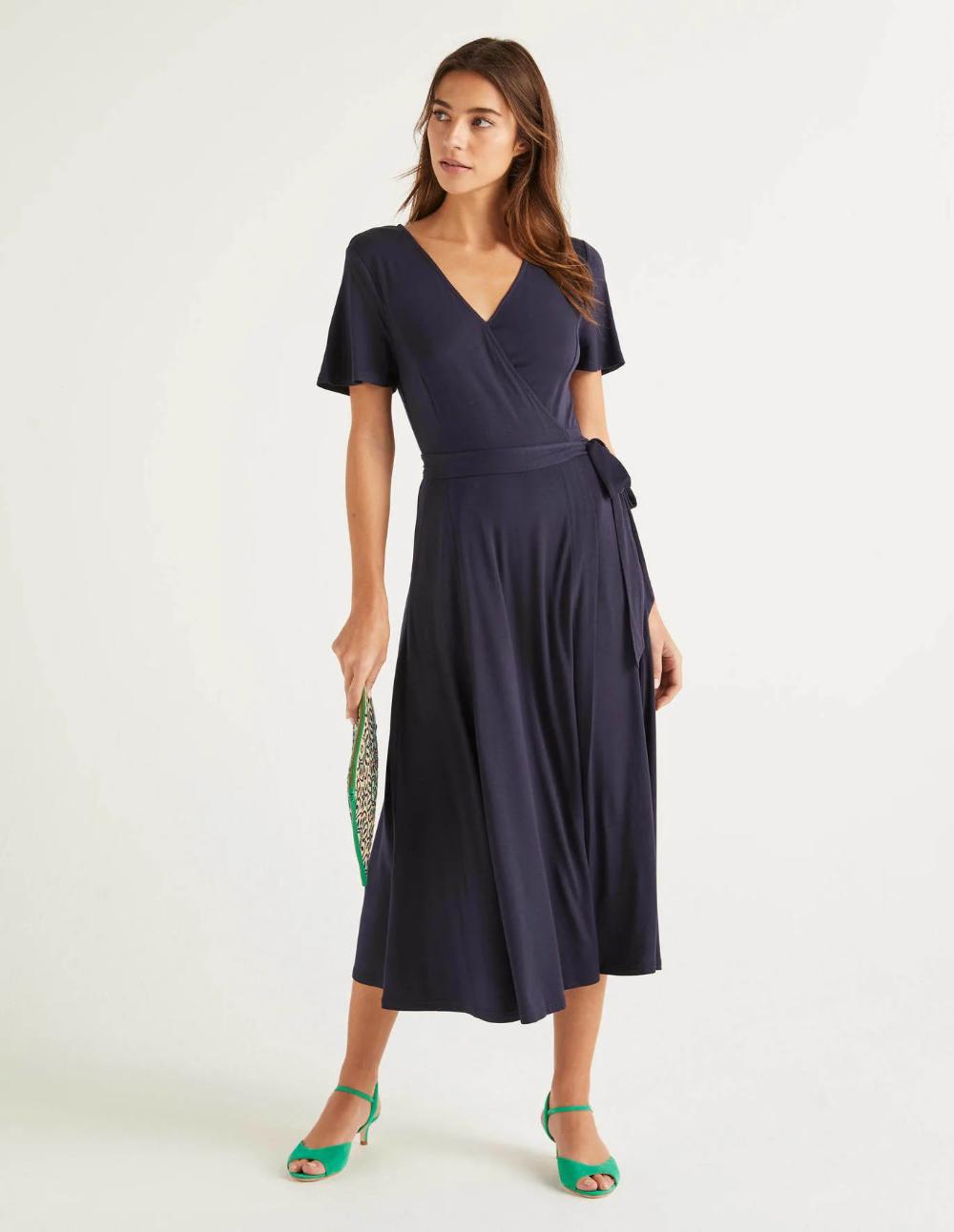 Cassia Jersey Midi Dress Navy Midi Short Sleeve Dress Empire Waist Dress Casual Stylish Midi Dress [ 1292 x 1000 Pixel ]