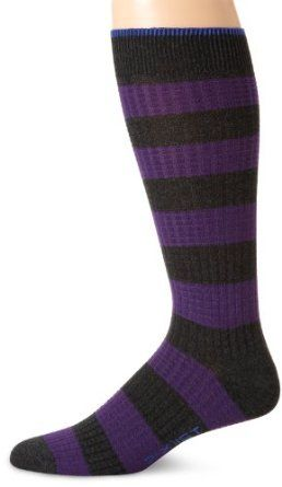 2(x)ist Men's Waffle Rugby Stripe Casual Socks, Grey/Purple, 10-13 at Amazon Men's Clothing store: