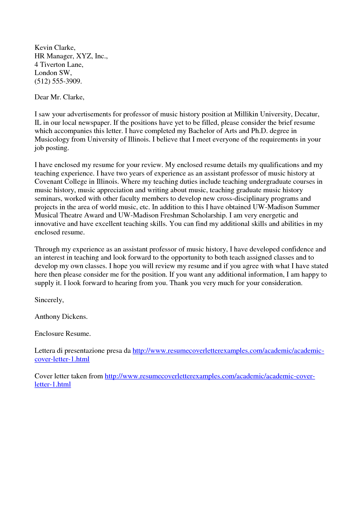 Vitae Academic Cover Letter Template Word Letters For Applications