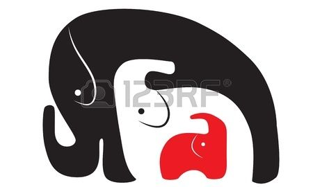 three elephants of different color  three in one