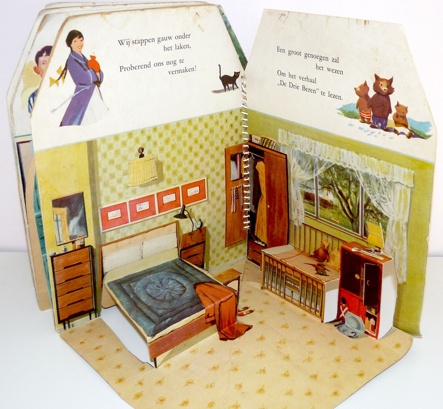 Shoebox Bedroom Dutch Pop Up Dollhouse Book From The 1950s Bedroom Christmas
