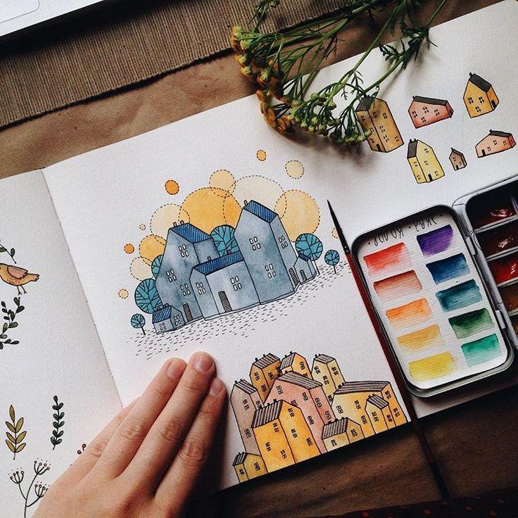 Meine eigenen Städte      cityillustration #illustrationartists #watercolorillustration #watercolorpaintings #watercolorjournal #medicalillustration #minipaintings #watercolors #artsketches