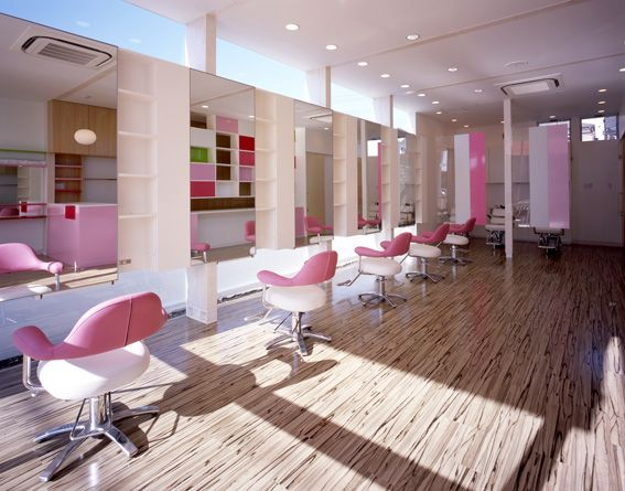 Salon interior design arp hills beauty salon kawaguchi saitama hair salon ideas pinterest for Photo decoration salon design