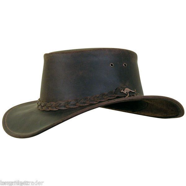 New Australian Brown Western Outback Leather Cowboy Hat Wide Brim S to 2XL