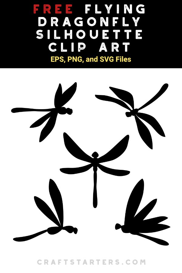 Free Flying Dragonfly Silhouette Clip Art