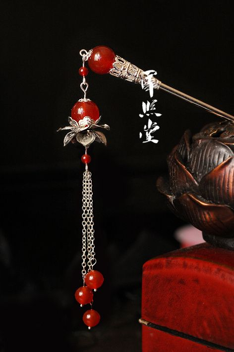 .chinese hairpin   Shedes in Red & Silver ... @rt&misi ...