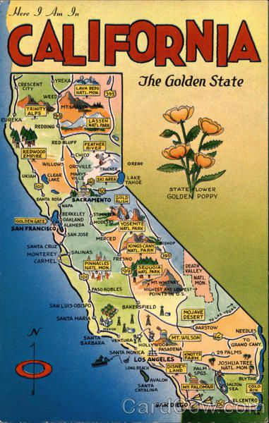 Vintage Map Of CA California USA More USA TRAVELS At Www - Map of cali