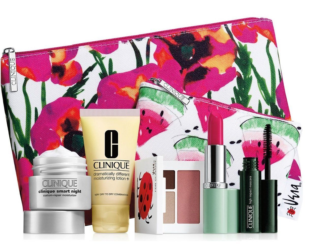 New 2016 Clinique 7 pc Makeup Skincare Gift Set Pink