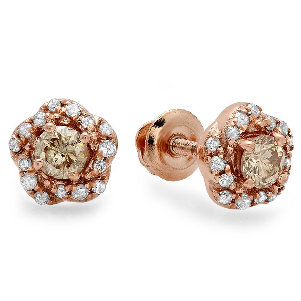 designs diamond db tdw white champagne stud earrings gold pin