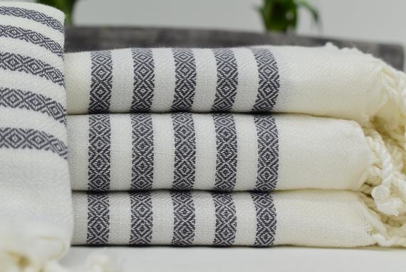 High Quality Turkish Towels White Gray Towel Beach Turkish Towel