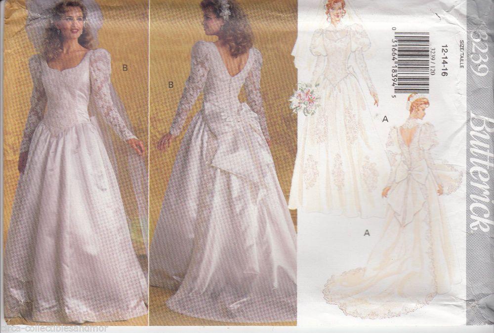 Wedding Dress Gown Detachable Train Butterick Sewing