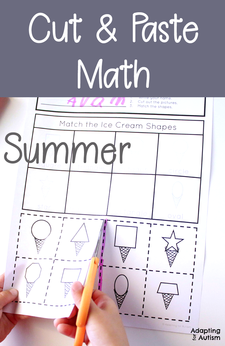 Worksheets  Summer Cut and Paste Math Worksheets for Special Education