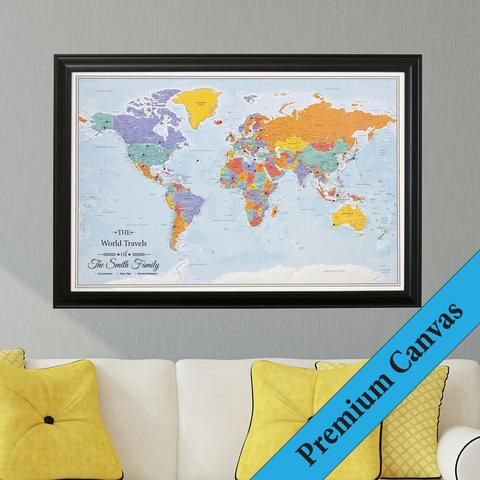 Canvas blue oceans world map in black frame perfect for pinning canvas blue oceans world map in black frame perfect for pinning past future travels gumiabroncs Images