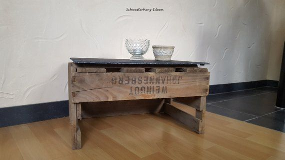 Side Table Leo With Slate Plate Serving Table In Country House