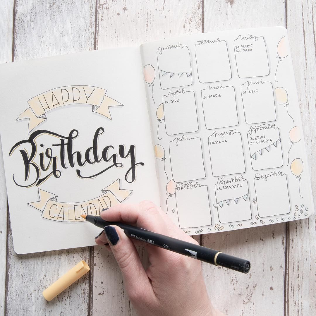 Geburtstags tracker f r dein bulletjournal bulletjournaling ideen journal kalender und - Kalender ideen ...