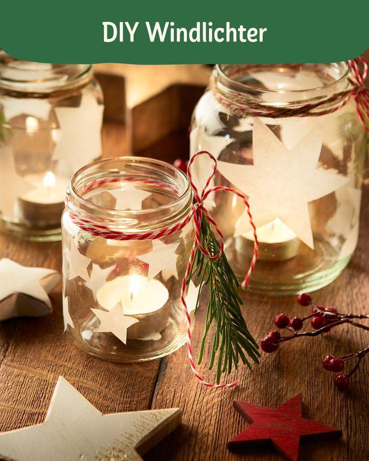 Selbstgemachte Windlichter sind zur Weihnachtszeit besonders hübsch und genau das Richtige für einen gemütlichen Bastelnachmittag. #DIY #Windlichter #Weihnachten #Basteln