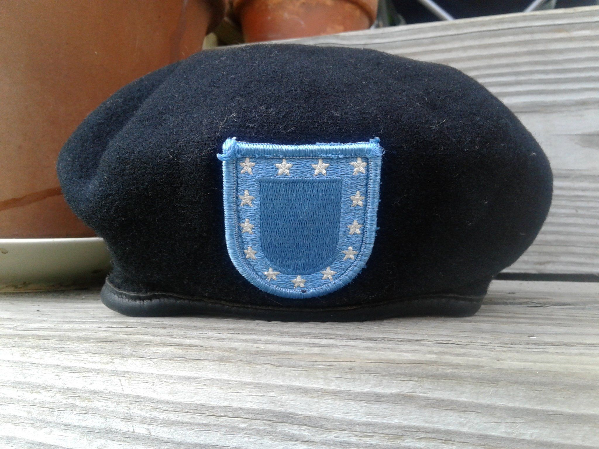 Little kid's vintage army uniform hat with patch, size 7 1/8