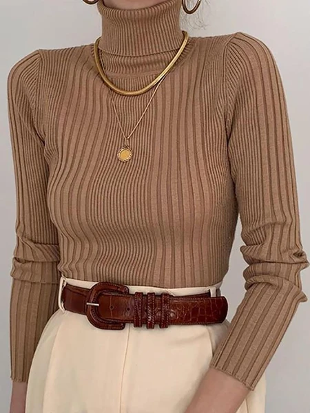 Photo of Fashion High Collar Brown Pit Slim Knit Sweater