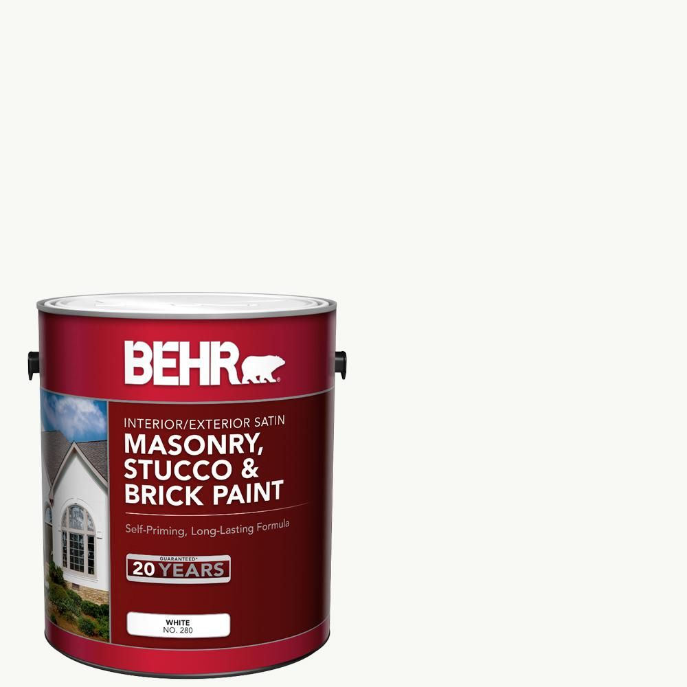 BEHR 1 Gal. White Satin Enamel Masonry, Stucco And Brick