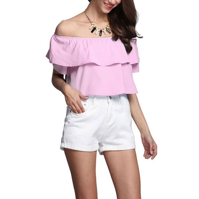 7 Color Summer Women Clothes Fashion Sexy Ruffled Off the Shoulder Collar Tank Tops Sleeveless Natural Color Strapless Tops