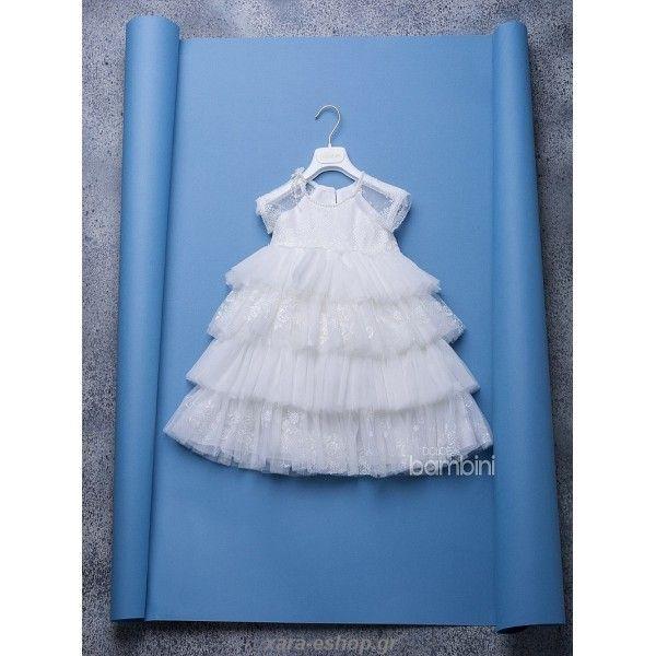 73a8a3207b9f Φορεματάκι βάπτισης-βαπτιστικό φόρεμα Dolce Bambini με μπούστο από δαντέλα  κεντημένο με πέρλες