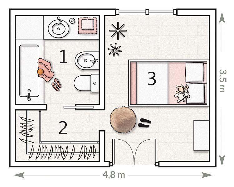La suite de una peque a dama vestidor planos y ba o for Plano habitacion
