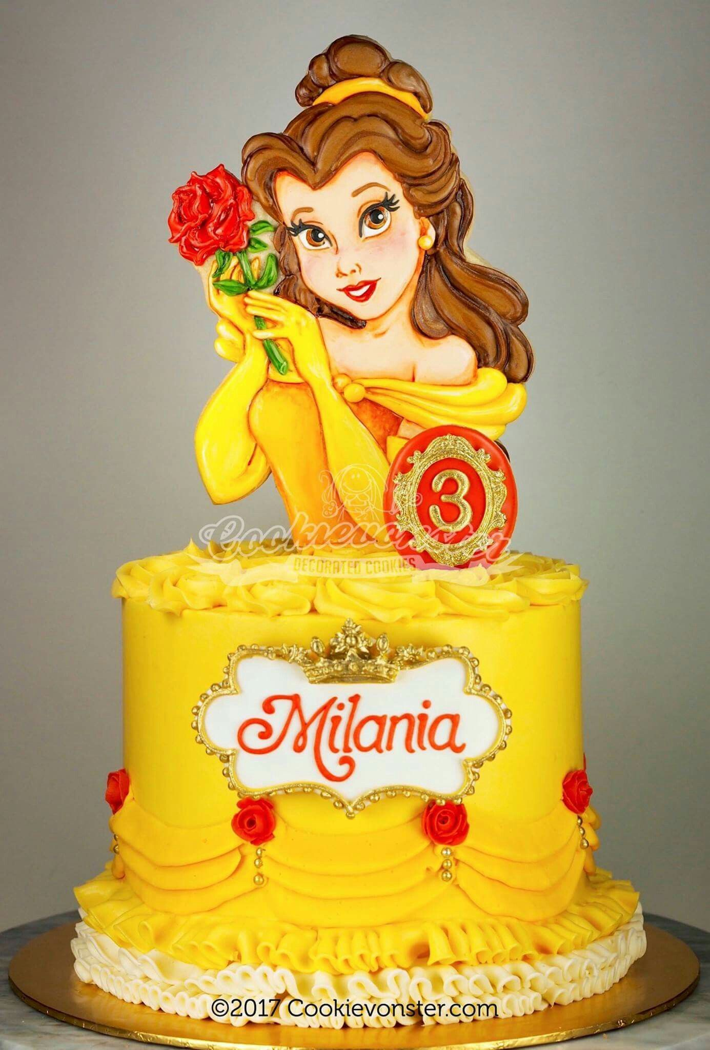 Swell Belle Beauty And The Beast Cake With Images Belle Birthday Birthday Cards Printable Trancafe Filternl