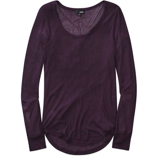 Wilfred Free alessandra t-shirt Aritzia ($45) ❤ liked on Polyvore featuring tops, t-shirts, purple t shirt, purple top, purple long sleeve top, ribbed top and purple long sleeve t shirt