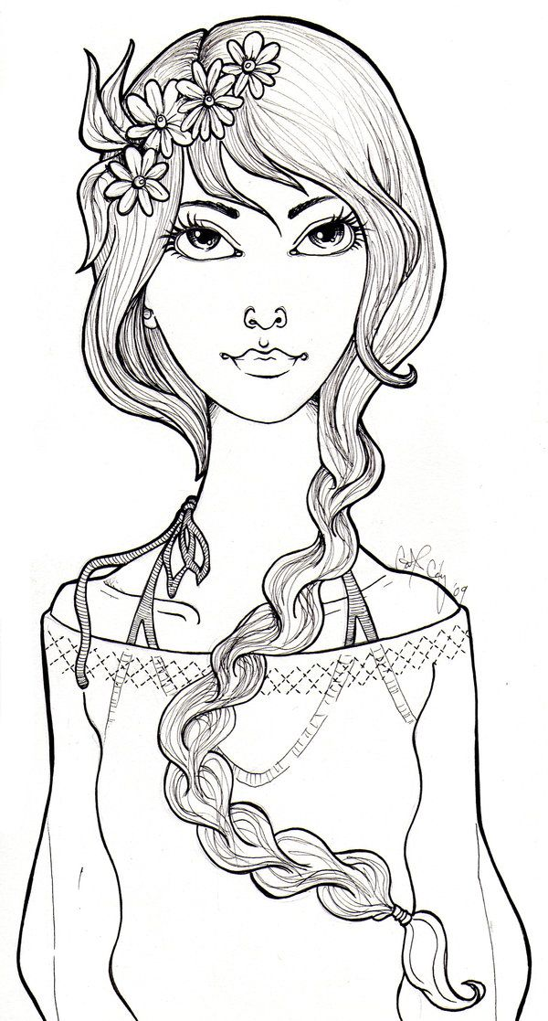 Hippy Dippy Flower Girl By Catzilla On Deviantart Coloring