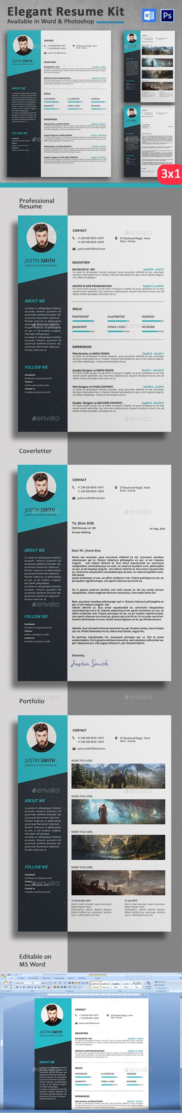 resume professional cv cv template and ux design clean and professional resume designed in photoshop cs and so easy to edit and make it your own resume include resume cover letter and portfolio