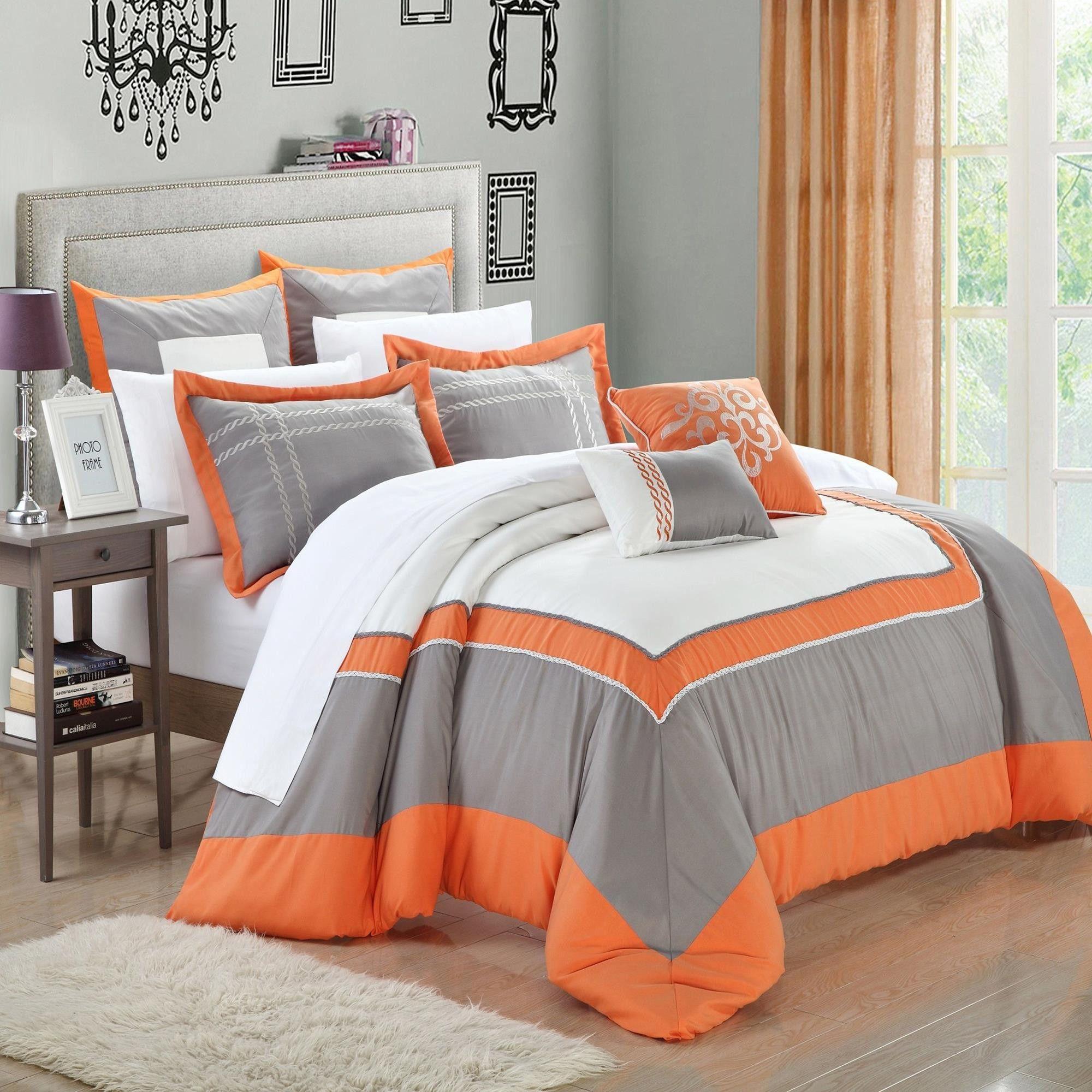 Ballroom Orange Grey White 7 Piece Comforter Bed In A Bag Set