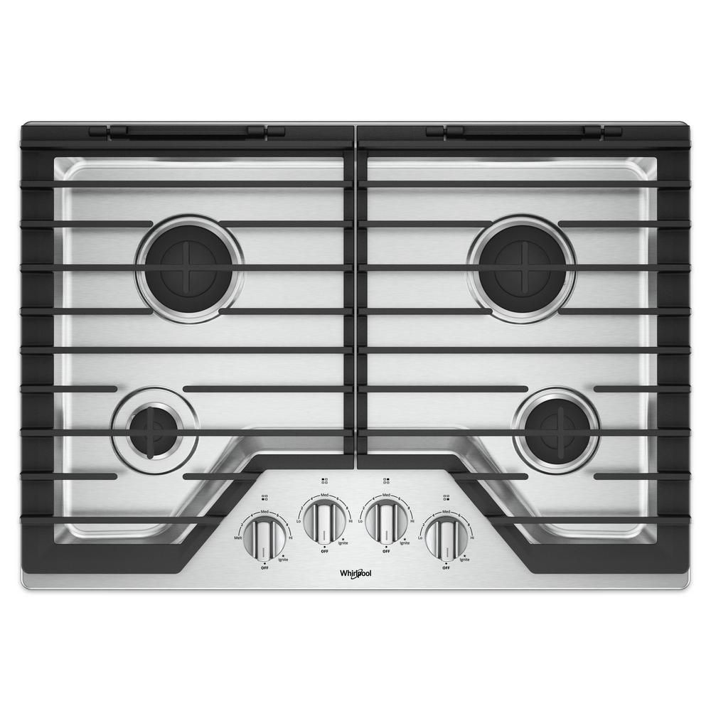 Whirlpool 30 In Gas Cooktop In Black With 4 Burners And Ez 2 Lift Hinged Cast Iron Grates Stainless Steel Appliances Cast Iron Steel
