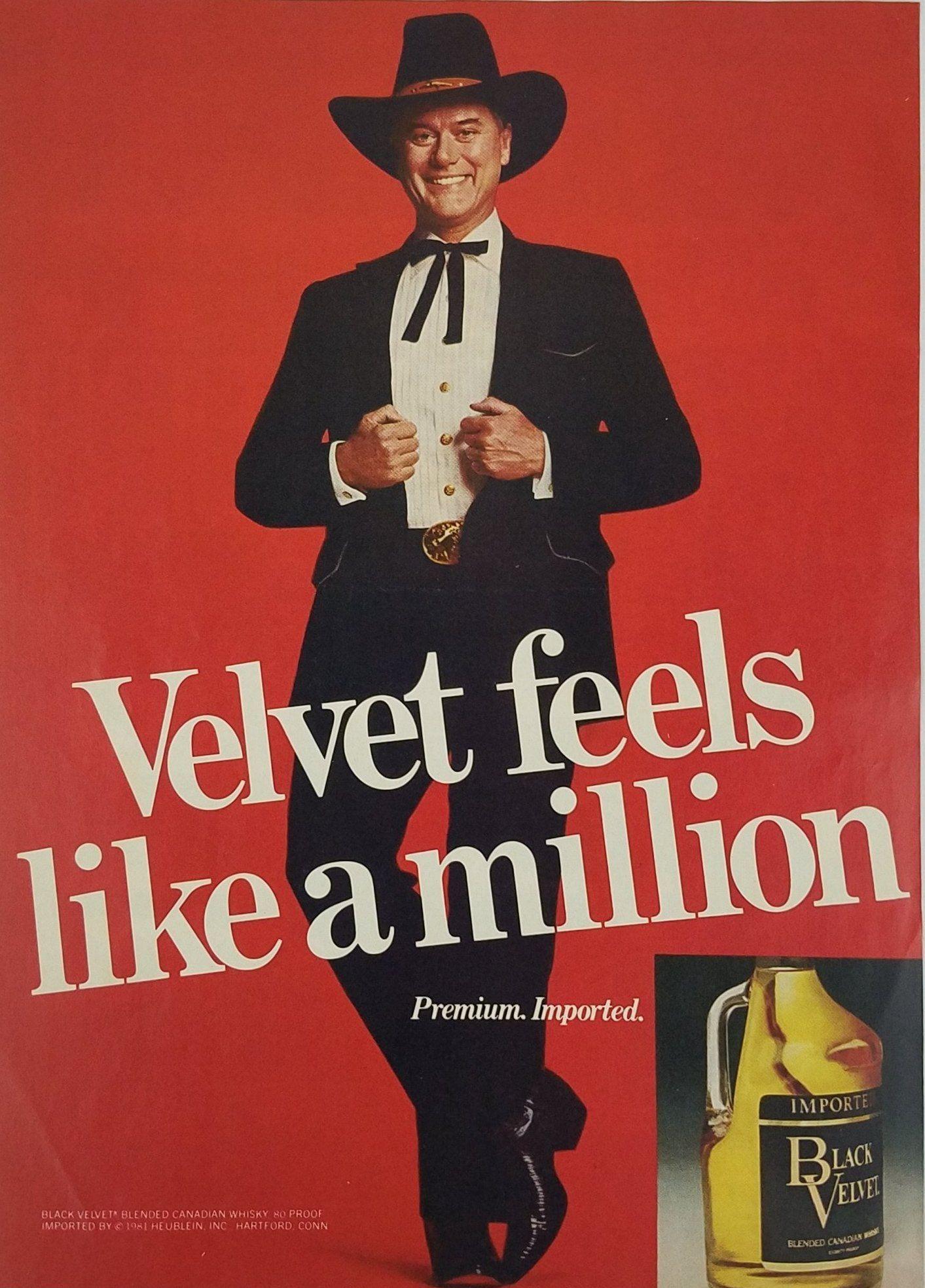 1981 Black Velvet Whiskey Larry Hagman Print Ad Celebrity Advertising Larry Hagman Celebrities