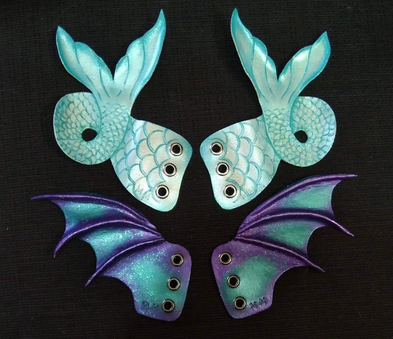 Boot Bat wings with green thread.