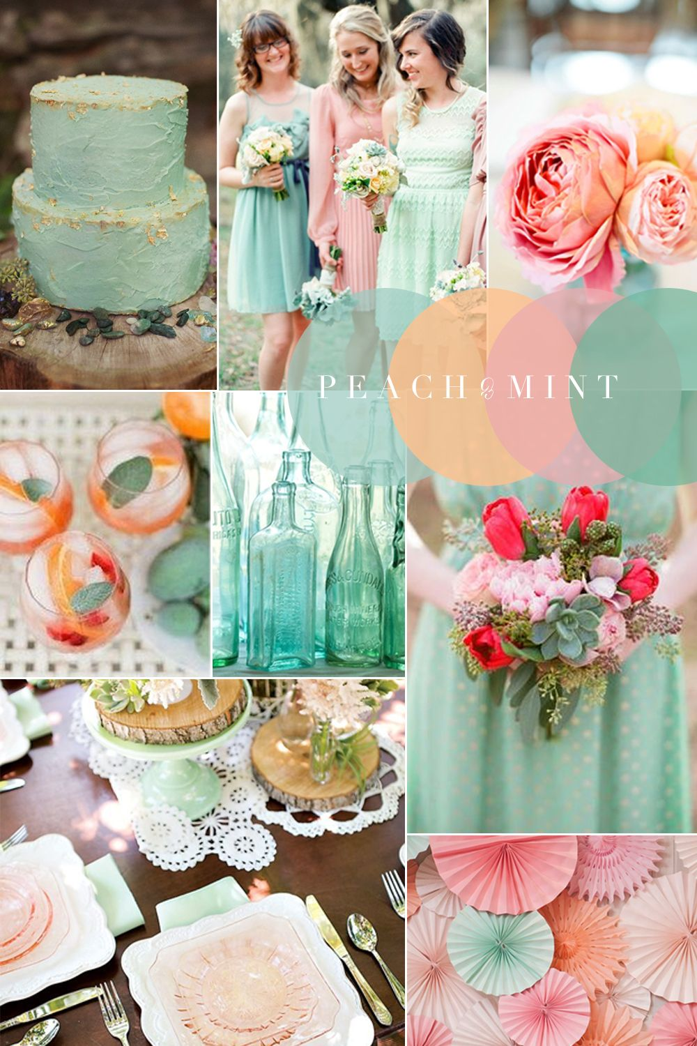 Vintage Wedding Colour Combinations Peach C Mint