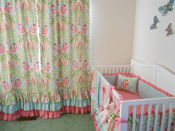 Beautiful pink and aqua ruffled curtain panels www.butterbeansboutique.etsy.com