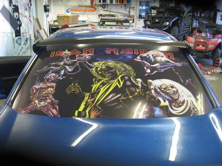 Vinyl printed iron maiden decal installed by spokane sunscreen auto graphics vehicle wraps pinterest wraps