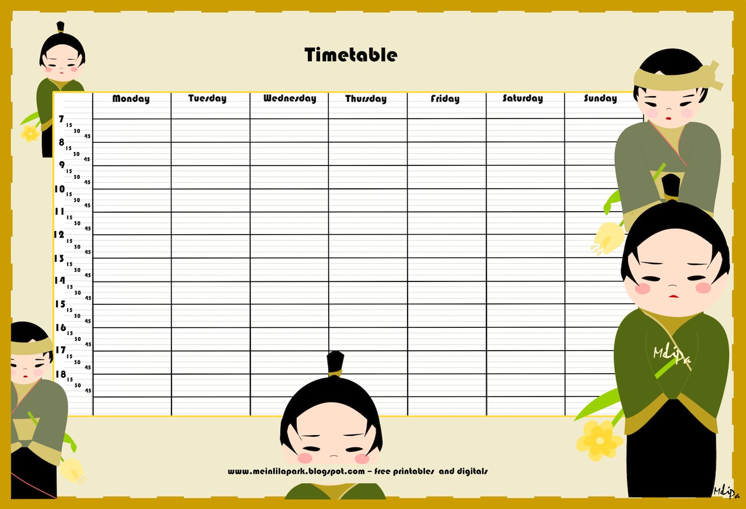 FREE printable timetable – kokeshi timetables – | MeinLilaPark ...
