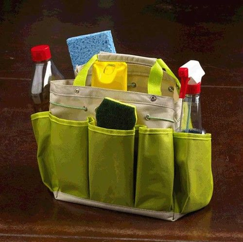 Caddy Tote Cleaning Supplies Tools Canvas Bag Organizer