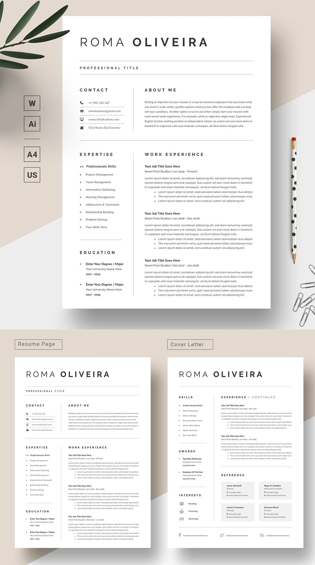 Professional Resume Template Resume Template Word CV