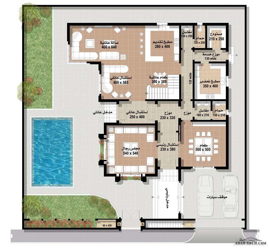 اجمل مجموعه فلل بالمساقط من مسكن العربية نموذج فيلا ٥ المغربية Square House Plans Family House Plans Model House Plan